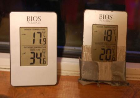 גם בתוך ארגז קטן, בבית, יש טווח טמפרטורות גדול